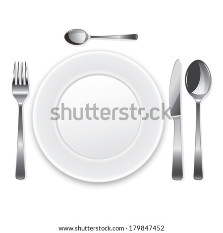 White empty plate with fork, spoon and knife. Vector illustration