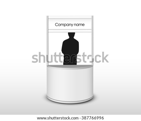 White Empty Retail Stand with silhouette  - stock vector