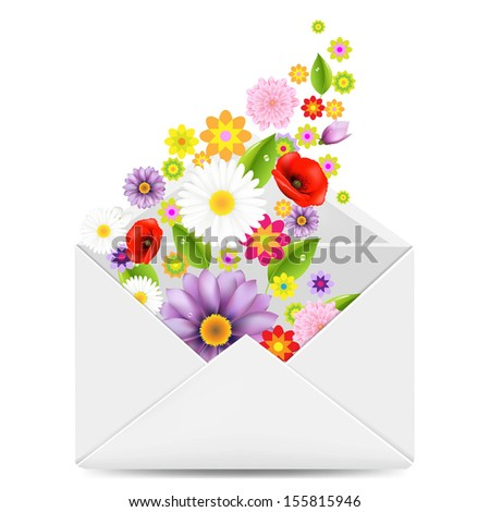 White Envelope With Flowers With Gradient Mesh, Vector Illustration - stock vector