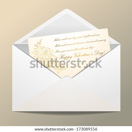 White envelope with wishes for a Happy Valentine's day!