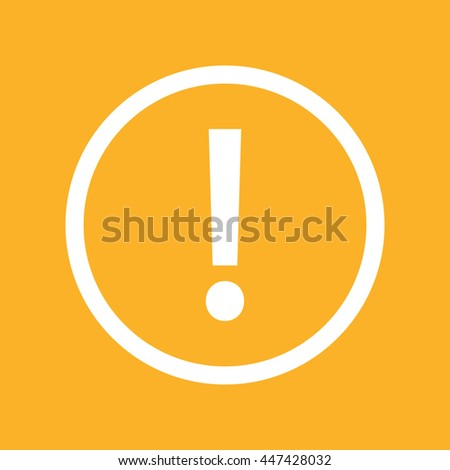 White exclamation mark vector icon. Yellow background