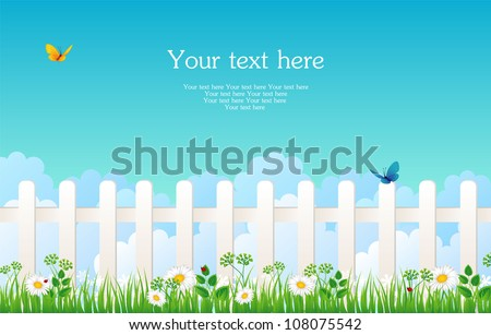 White fence with grass - stock vector