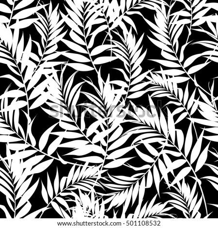 White Fern Leaves On A Black Background Seamless Pattern Modern Palm