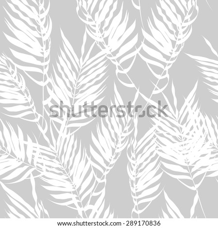 White fern leaves on a gray background. Seamless pattern. modern palm leaves - stock vector