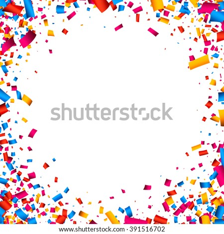 White festive background with color confetti. Vector illustration. - stock vector