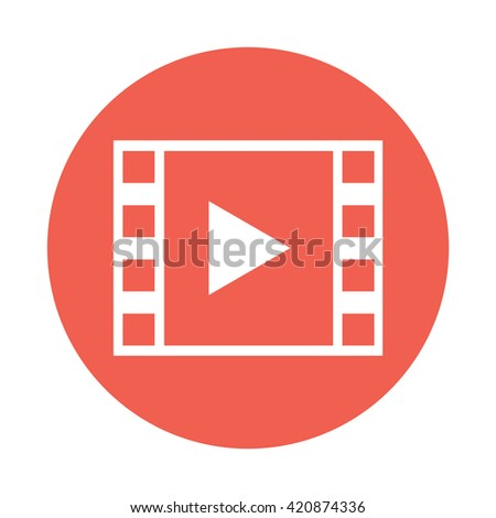 White Film strip with play button icon vector illustration red circle / button - stock vector