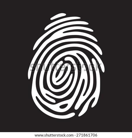 white finger print on black background - stock vector