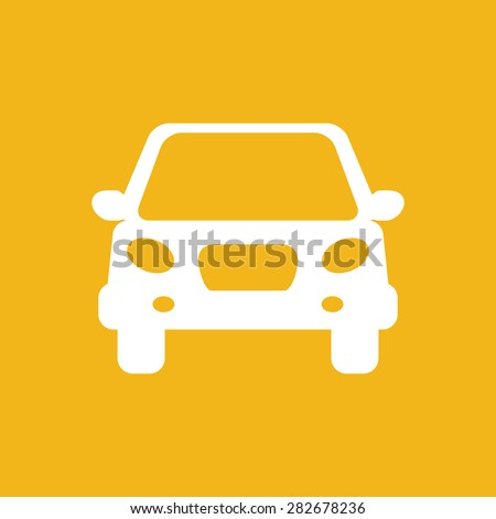 white flat car button icon on a yellow background - stock vector