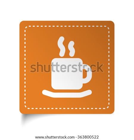 White flat Coffee icon on orange sticker - stock vector