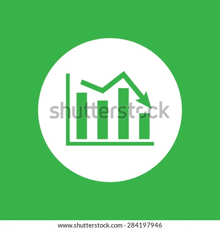 white flat icon of graph going down on a green background - stock vector