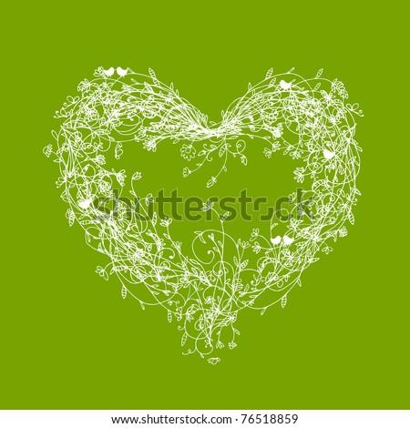 White floral frame, heart shape on green - stock vector