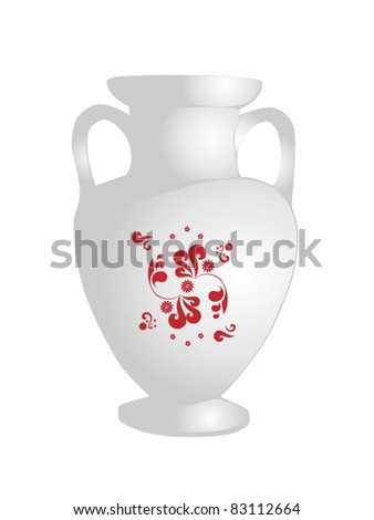 White flower bowl with ornament - stock vector