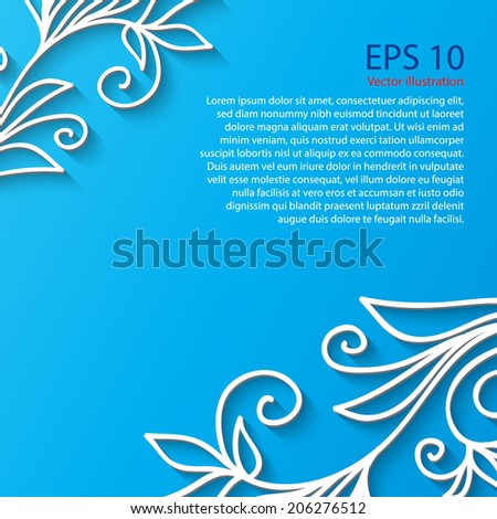 White Flower Frame with shadow. Vector abstract background. EPS 10. Flat.  - stock vector