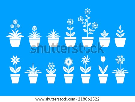 White flower icons on blue background