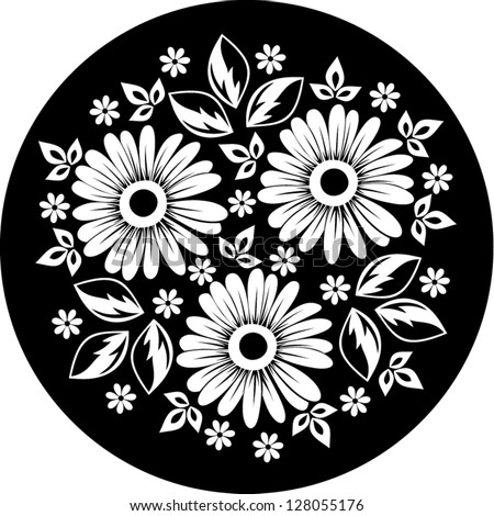 White flower ornament on a black background. Vector illustration. - stock vector