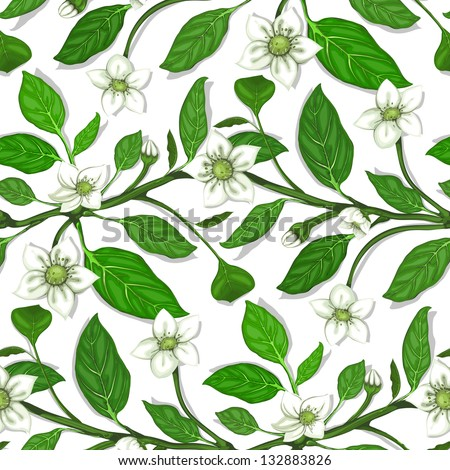 White Flowers on Twig Seamless Pattern. Blooming sprigs seamless background. Vector EPS8. No effects. - stock vector