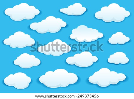 White fluffy cloud icons on a turquoise blue sky in different shapes with a drop shadow - stock vector