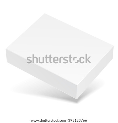 White Flying Product Cardboard Package Box With Shadow. Illustration Isolated On White Background. Mock Up Template Ready For Your Design. Vector EPS10