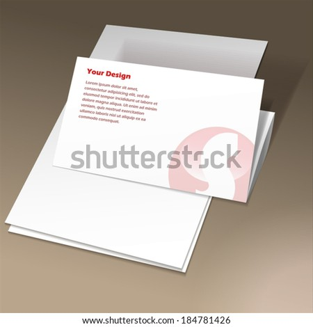 White folded paper template - stock vector