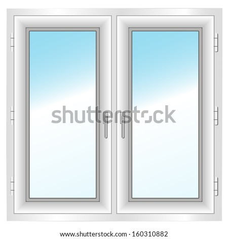 white frame closed  double window isolated on white. Vector illustration. - stock vector
