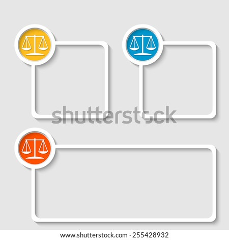 white frame for any text with law symbol - stock vector