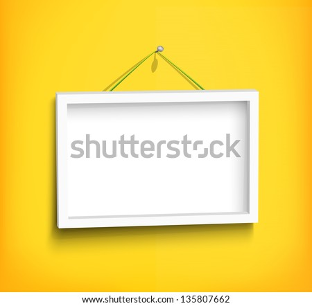 White Frame Hanging On Red Wall Stock Vector (Royalty Free ...