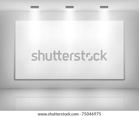 White frame in art gallery - stock vector