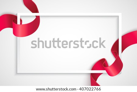 White frame with realistic curving red ribbon. Background for greeting card and promotion. Vector illustration - stock vector