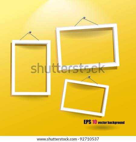white frames on the yellow wall - stock vector