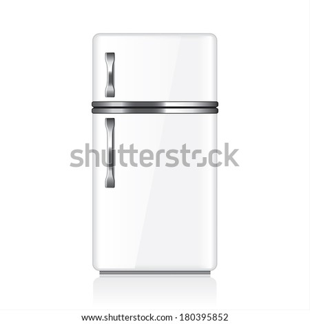 White fridge isolated on white photo-realistic vector illustration - stock vector