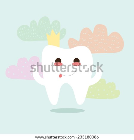 White funny tooth with a crown on a blue background with colorful clouds. - stock vector