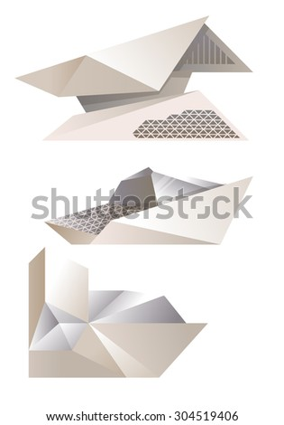 White futuristic houses collection in vector illustration