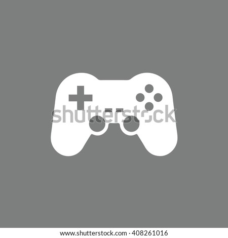 White game controller icon vector illustration. Gray background - stock vector