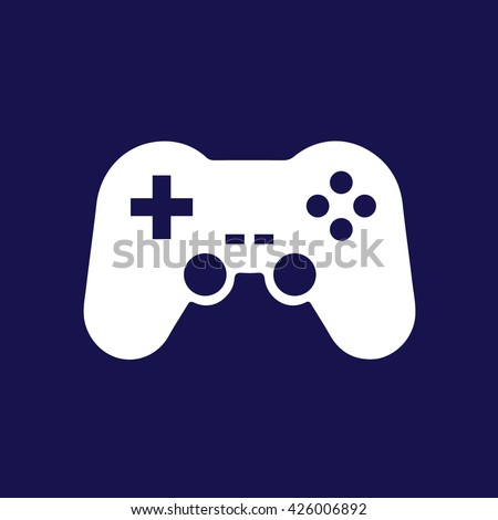 White game controller vector icon illustration. Blue background - stock vector
