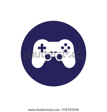 White game controller vector icon illustration. Blue circle. Blue button - stock vector