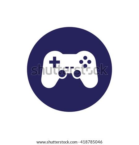 White game controller vector icon illustration. Blue circle. Blue button - stock vector