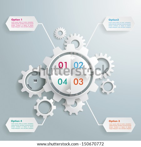 White gear with cycle on the grey background. Eps 10 vector file. - stock vector