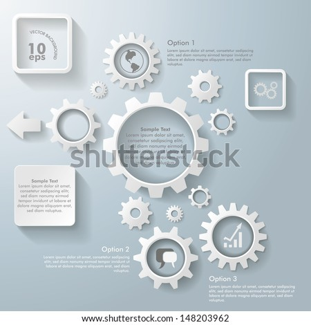 White gears on the grey background. Eps 10 vector file. - stock vector