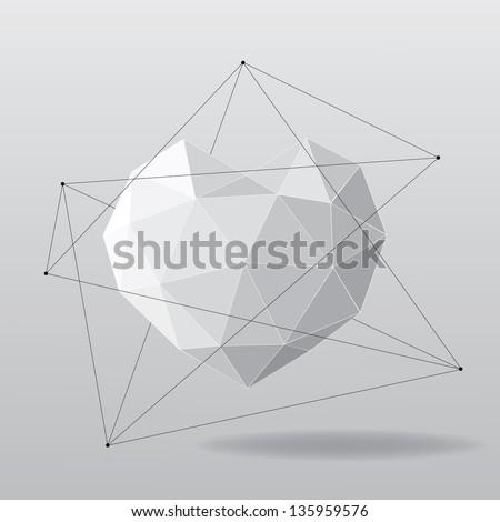 White geometrical heart background - stock vector