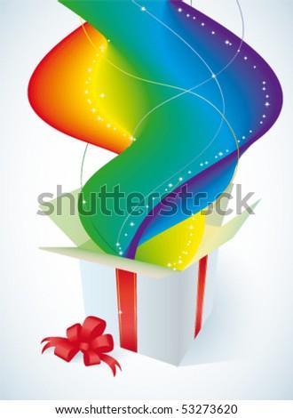 White gift box - stock vector