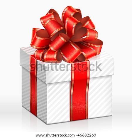 White gift box. Vector Illustration - stock vector