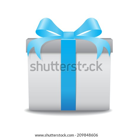 White gift box with a blue bow vector on white background