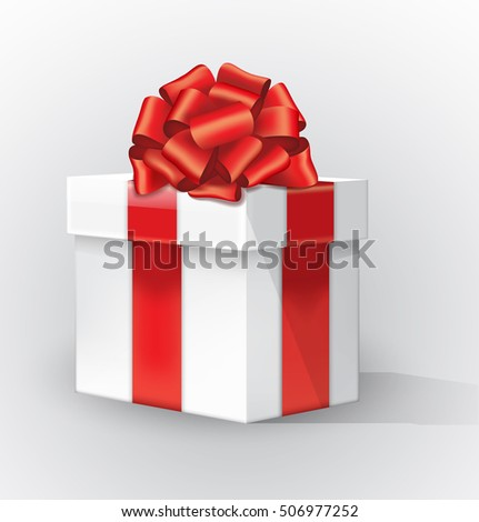 White gift box with a red bow and shadow. Curve red ribbon with a gold stripe tied bow Isolated realistic vector object on white background. 10 EPS.