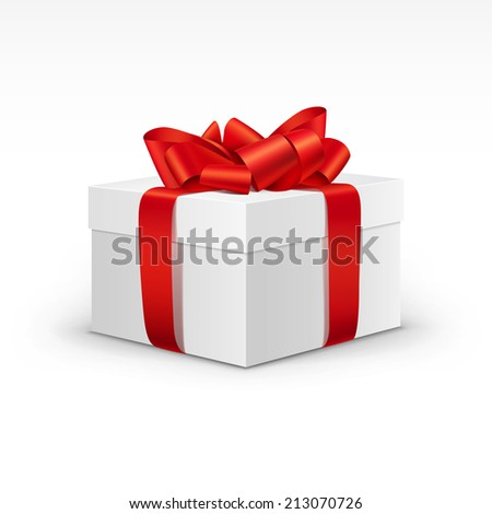 White Gift Box with Bright Red Ribbon Isolated - stock vector
