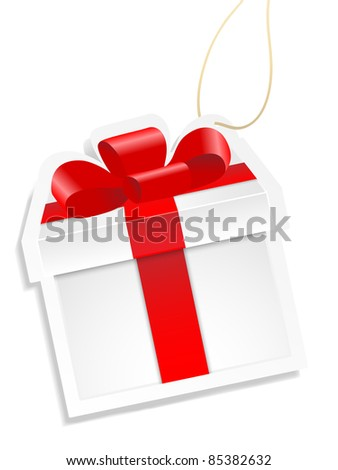 White gift box with red ribbon on white background. Vector. - stock vector
