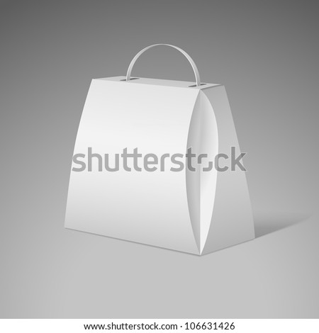 White gift package for food, wine. Vector cardboard packaging for your design. - stock vector