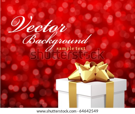 White gift with bokeh vector card - stock vector