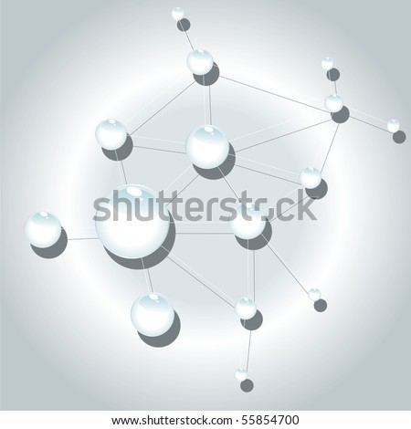 White glass molecule on a gray background. Vector background