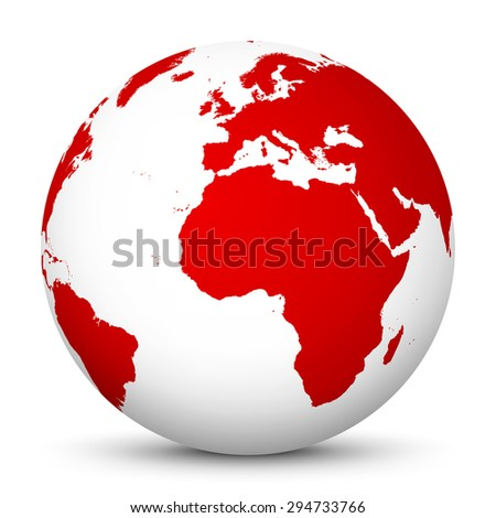 White Globe with Red Continents and smooth Shadow on White Background - Vector Illustration - stock vector