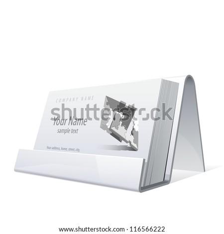 White glossy holder business cards vector stock vector 2018 white glossy holder for business cards vector illustration reheart Images